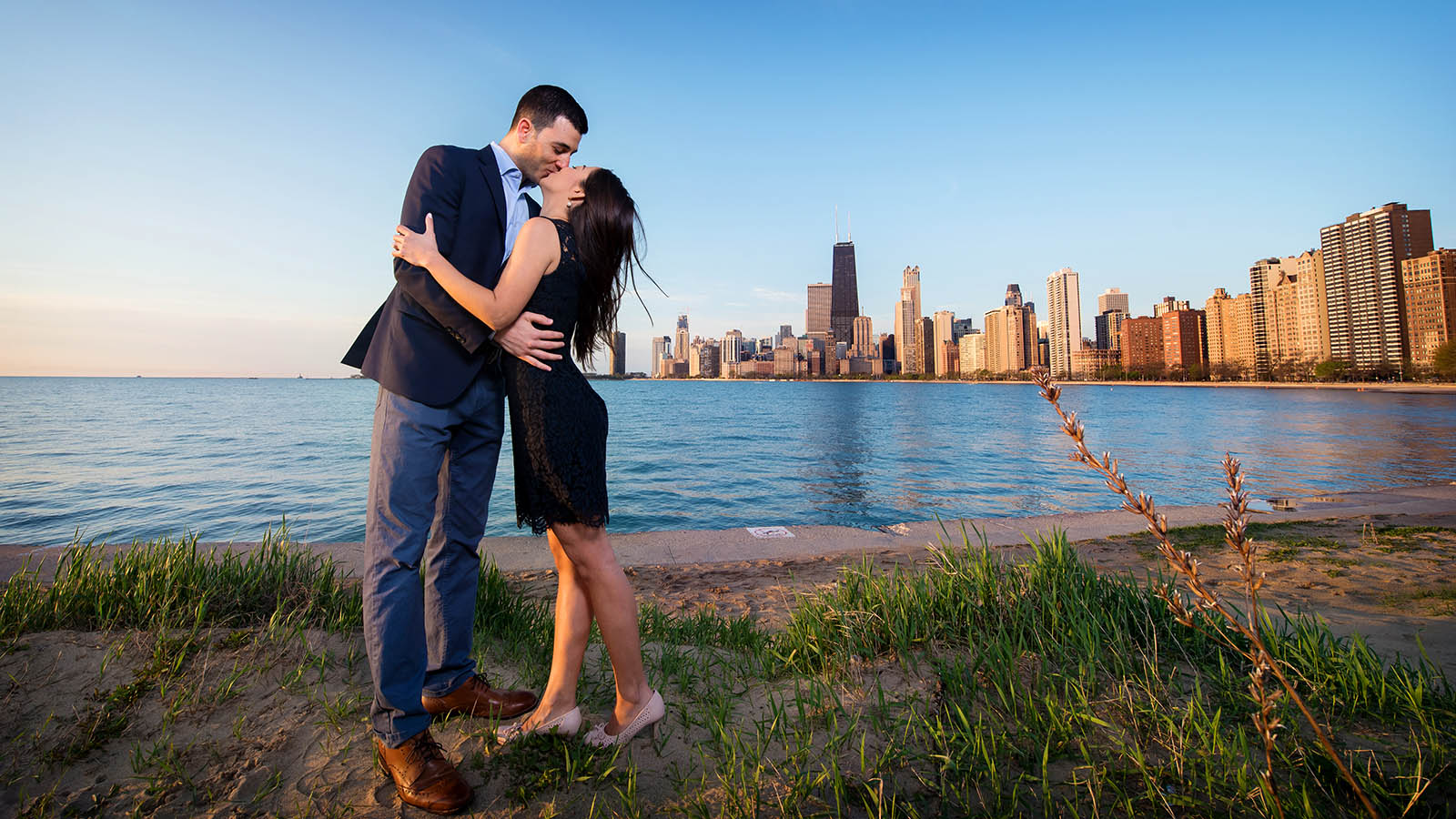 North Avenue Beach Skyline Chicago Engagement Photos