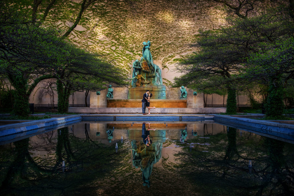 Art Institute of Chicago Fountain Engagement photo location