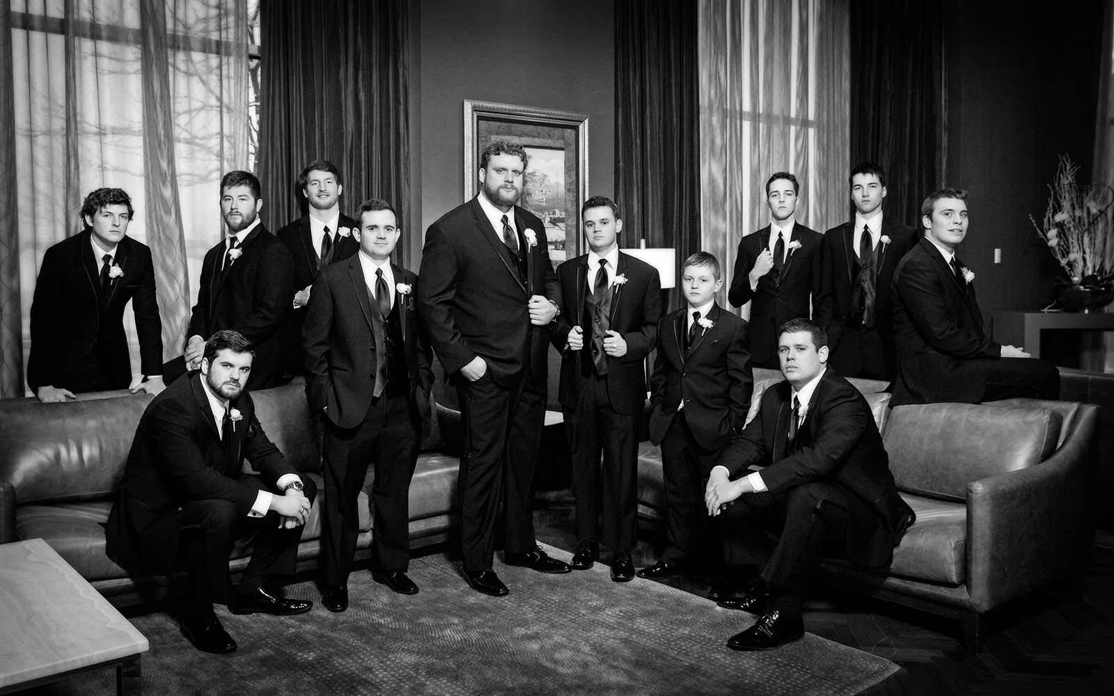 Teddy Karras Groomsmen Photography Black and White