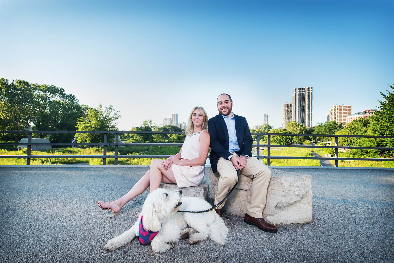 Lincoln Park Zoo Chicago Skyline Engagement Photography