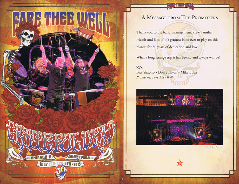 Grateful Dead Fare Thee Well Program July 5, 2015