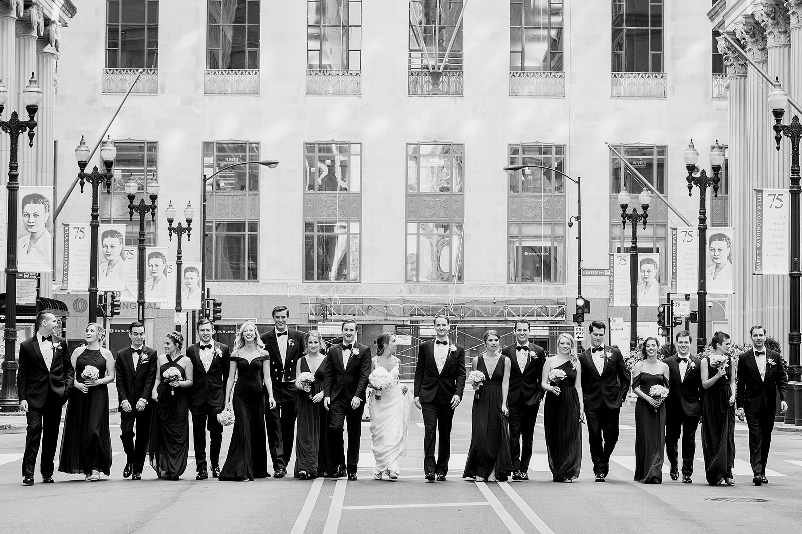 Lasalle Street Board of Trade Wedding Party Photo Black White