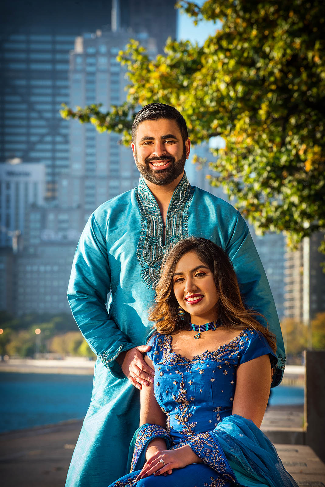 Pakistani Indian Engagement Portrait