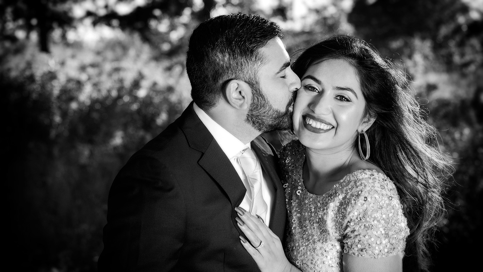 Pakistani Indian Engagement Photo in Black and White