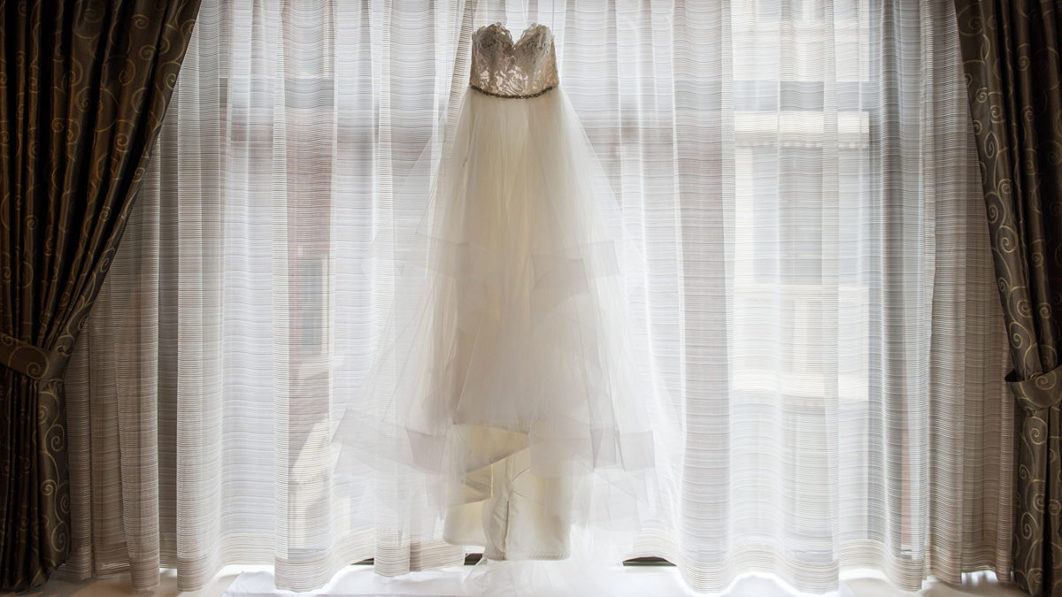 Hanging Wedding Gown Window
