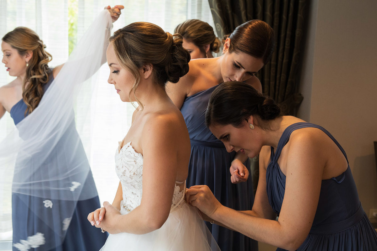 Bride Bridesmaids Buttoning Gown