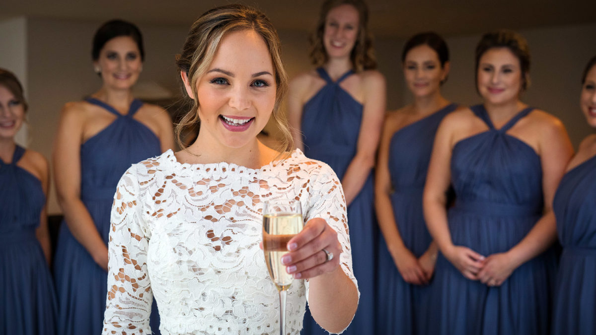 Bride toasting with Campaign Glass