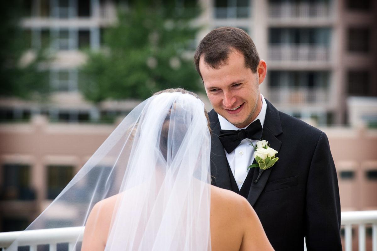 Bride seeing Groom First Look