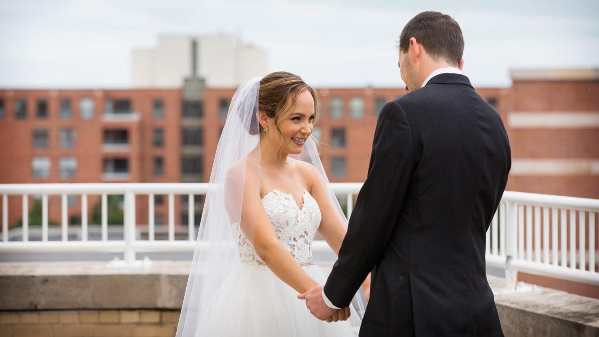 groom seeing bride first look
