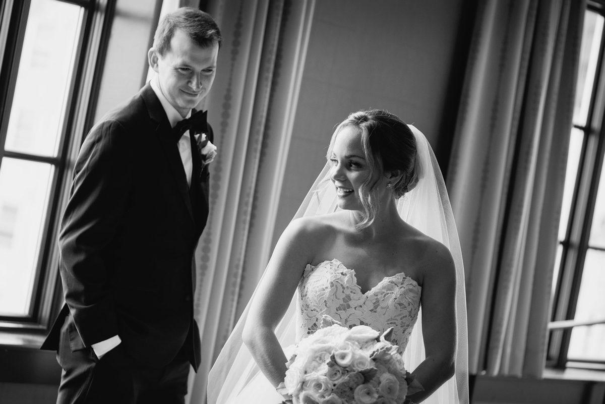 groom bride black white hotel orrington Evanston Illinois
