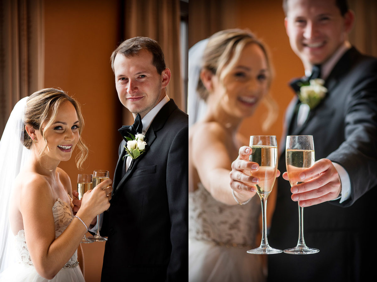 bride groom champagne toast flutes