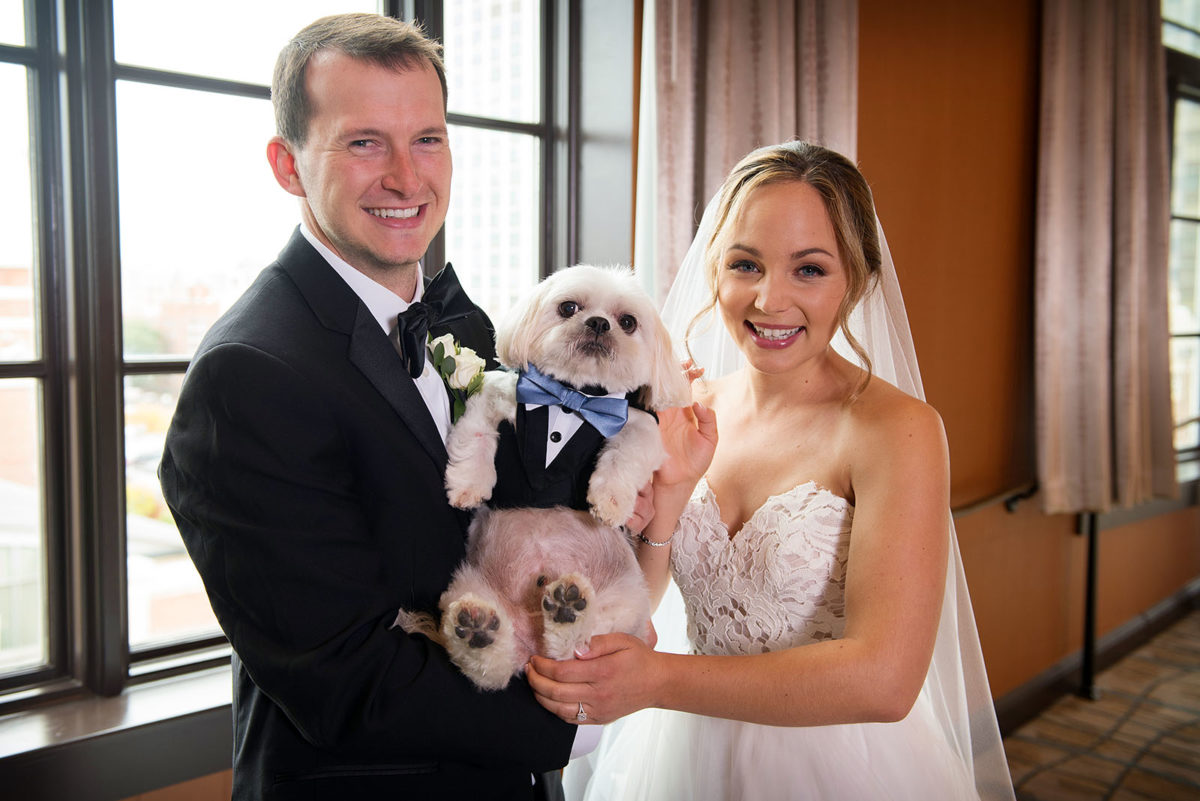 bride groom dog wedding tuxedo