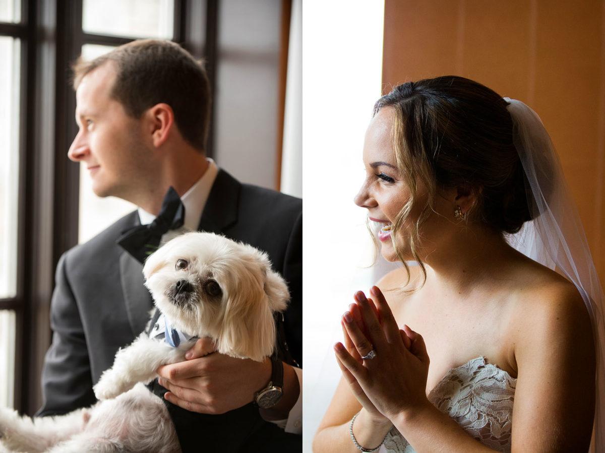 groom dog laughter wedding