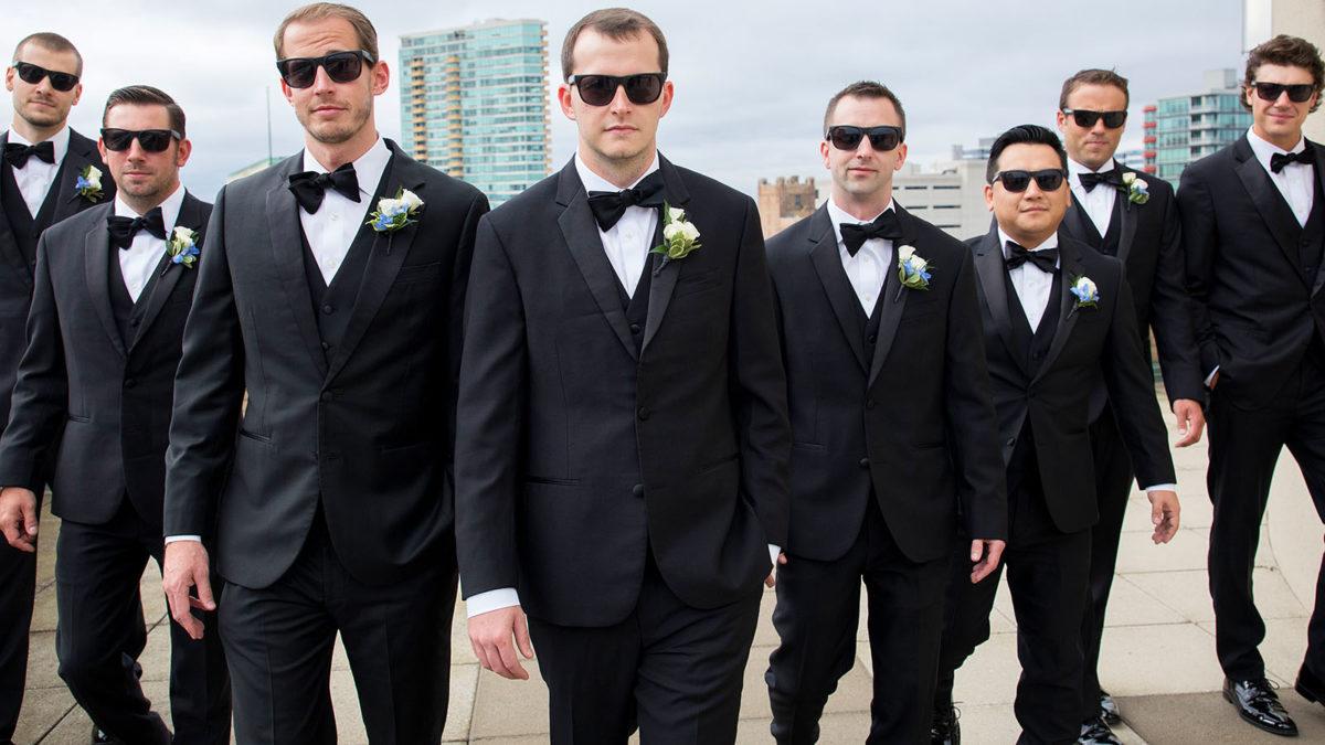 groomsmen portrait rooftop hotel orrington Evanston