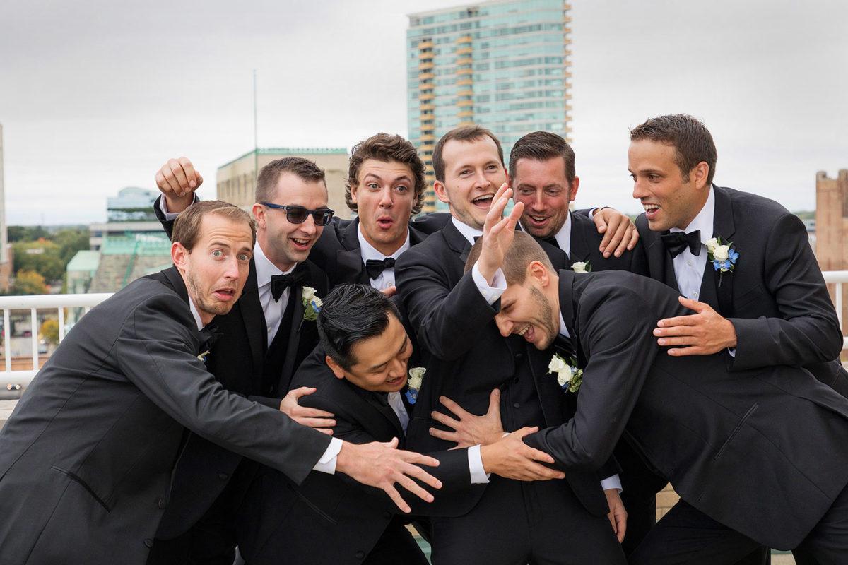 groomsmen funny rooftop hotel orrington Evanston
