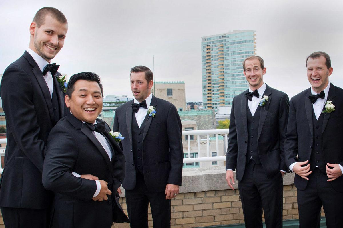 groomsmen fun rooftop hotel orrington Evanston