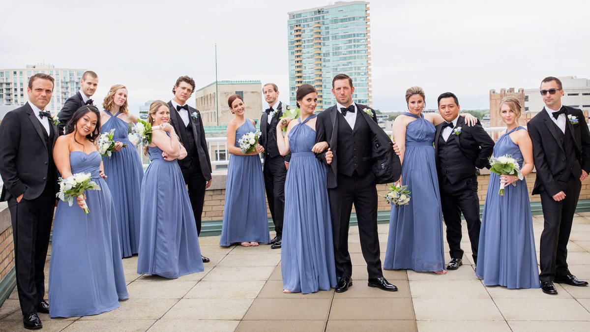wedding party cool rooftop hotel orrington Evanston