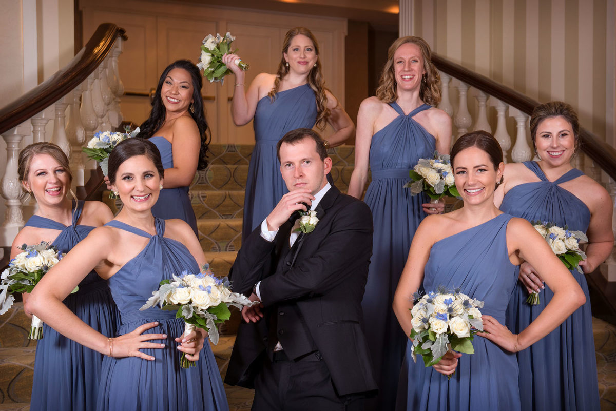 Groom bridesmaids hotel orrington Evanston