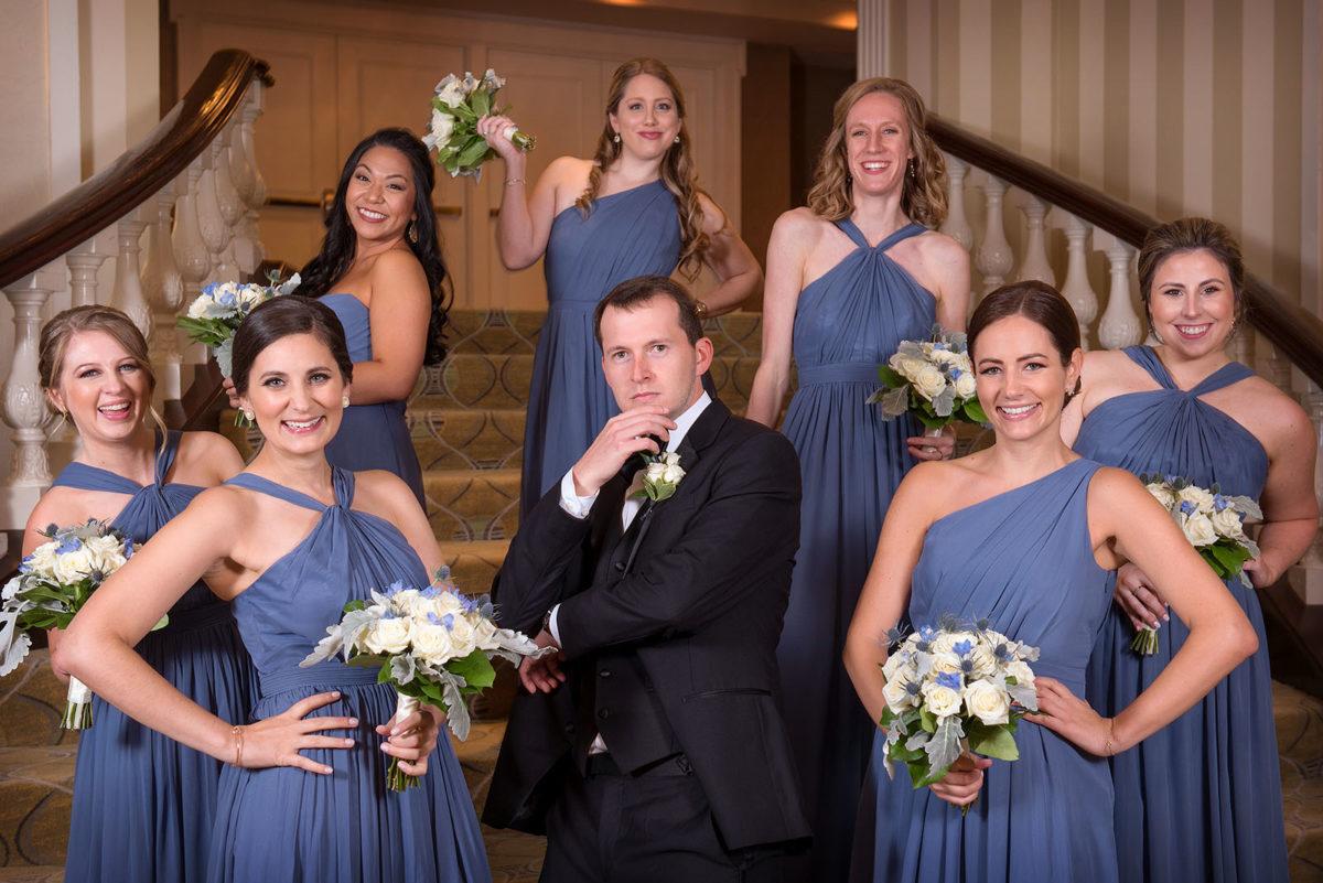 Groom bridesmaids hotel orrington Evanston