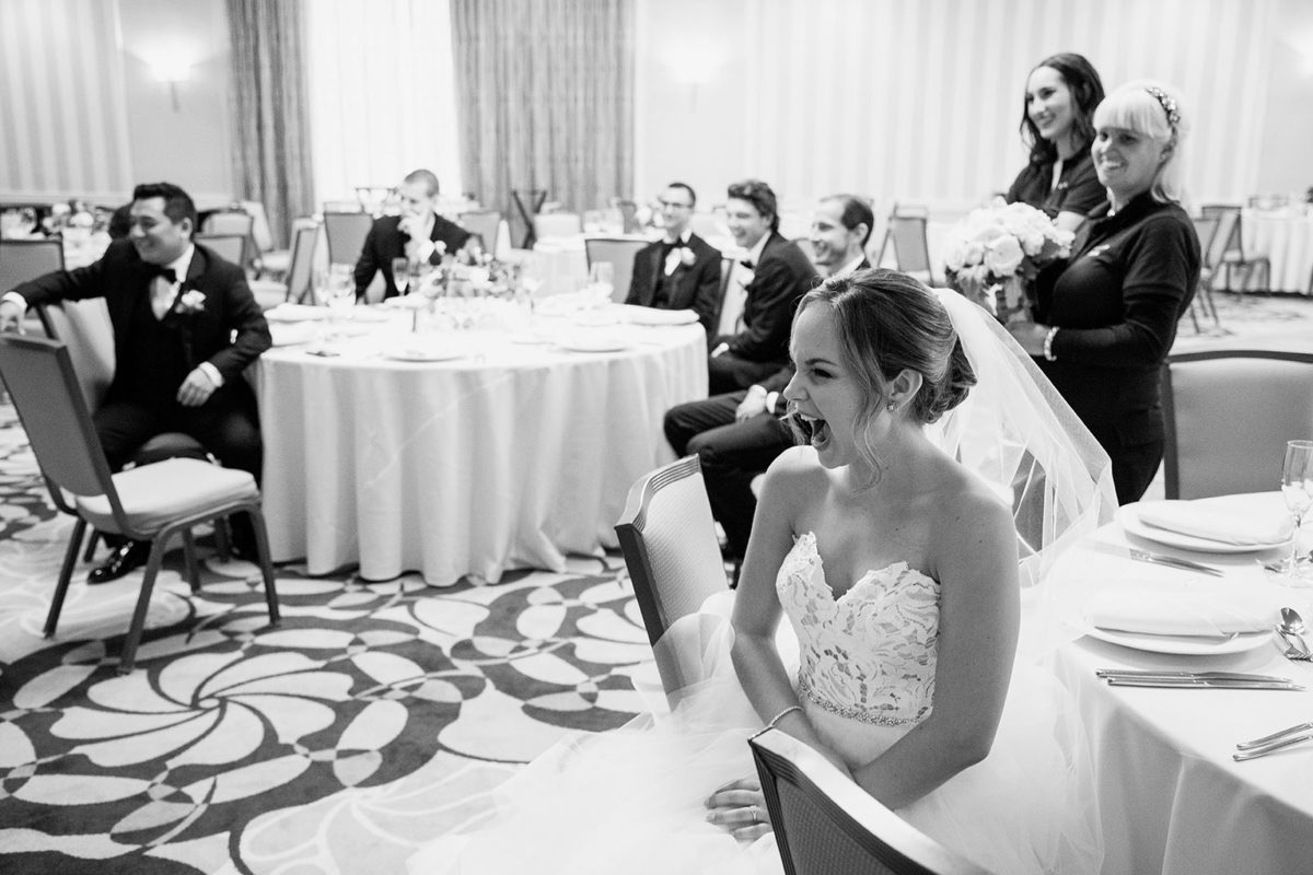 Bride laughing hotel orrington Evanston