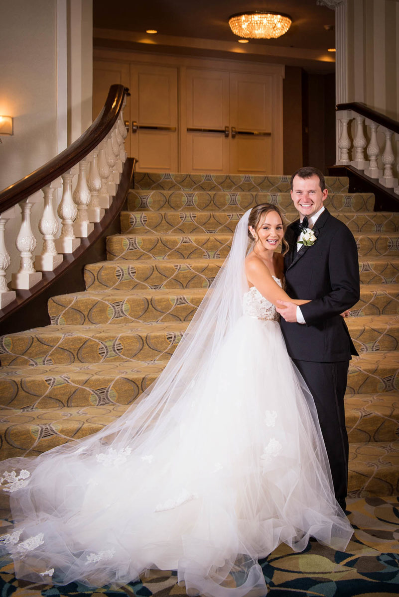 Bride Groom Portrait Staircase Hotel Orrington Evanston