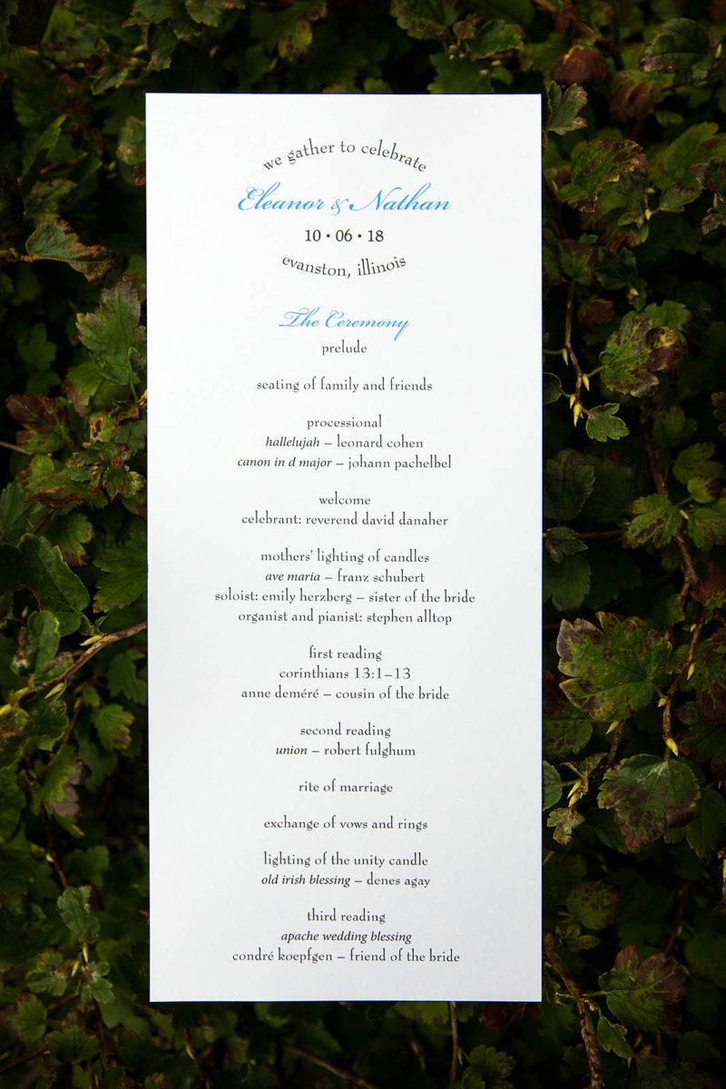 Wedding Program Detail Photo