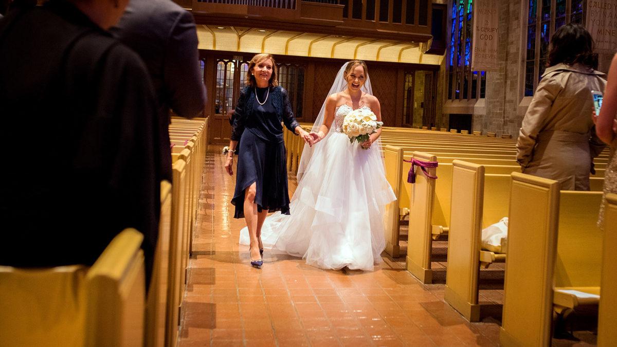 Bride Mom Coming Down Aisle Wedding Ceremony