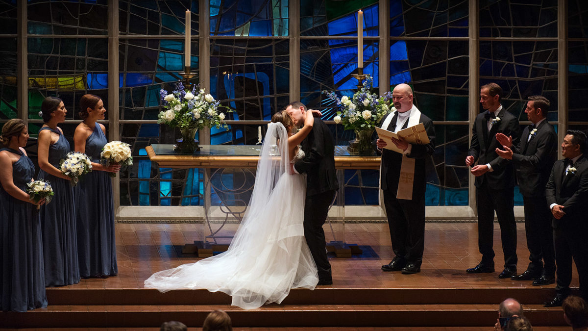 Bride Groom First Kiss Alice Millar Chapel Evanston
