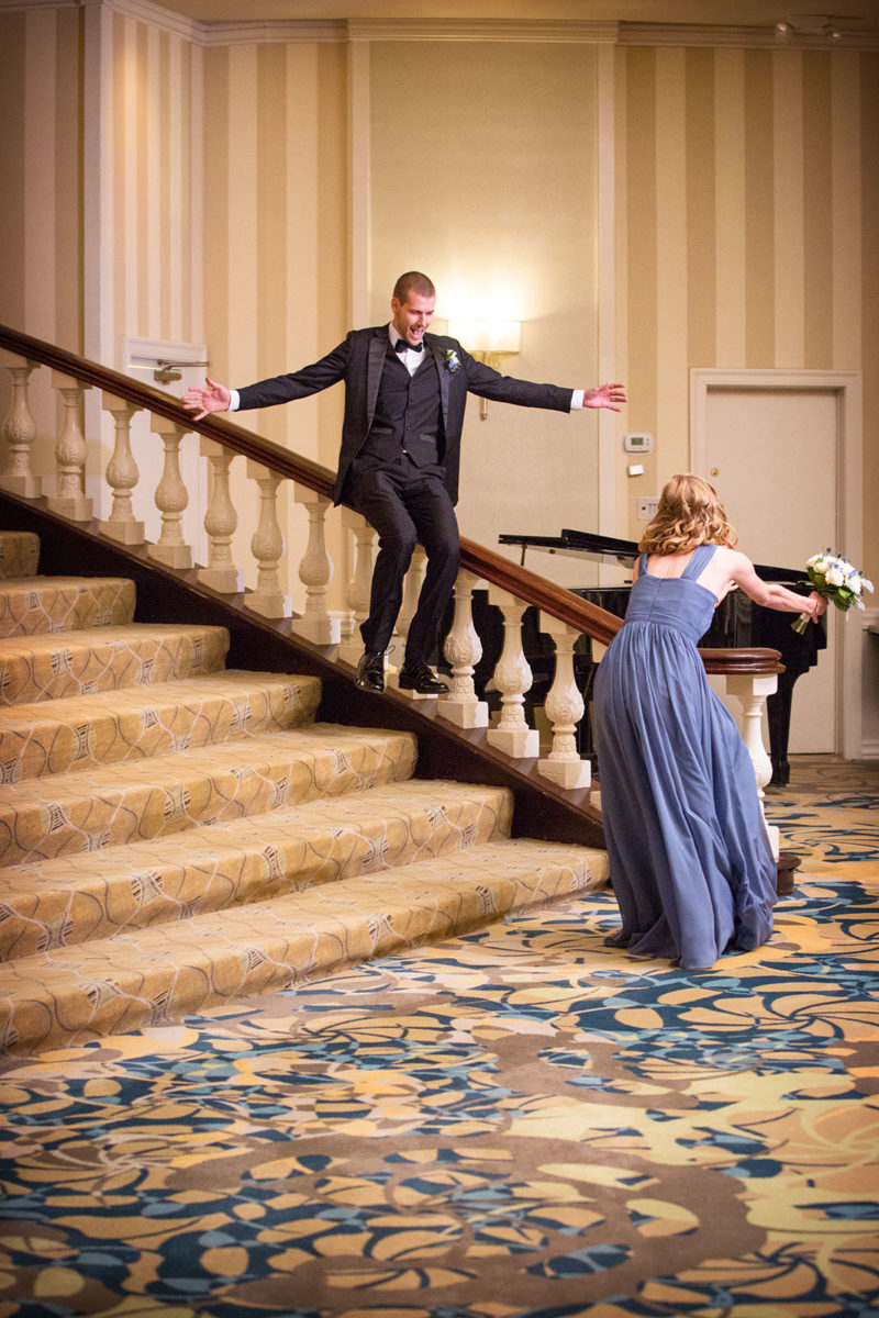 Wedding Entrance Sliding Down Stairs