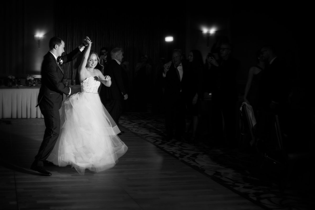 Bride Groom Black White Dance Hotel Orrington Evanston