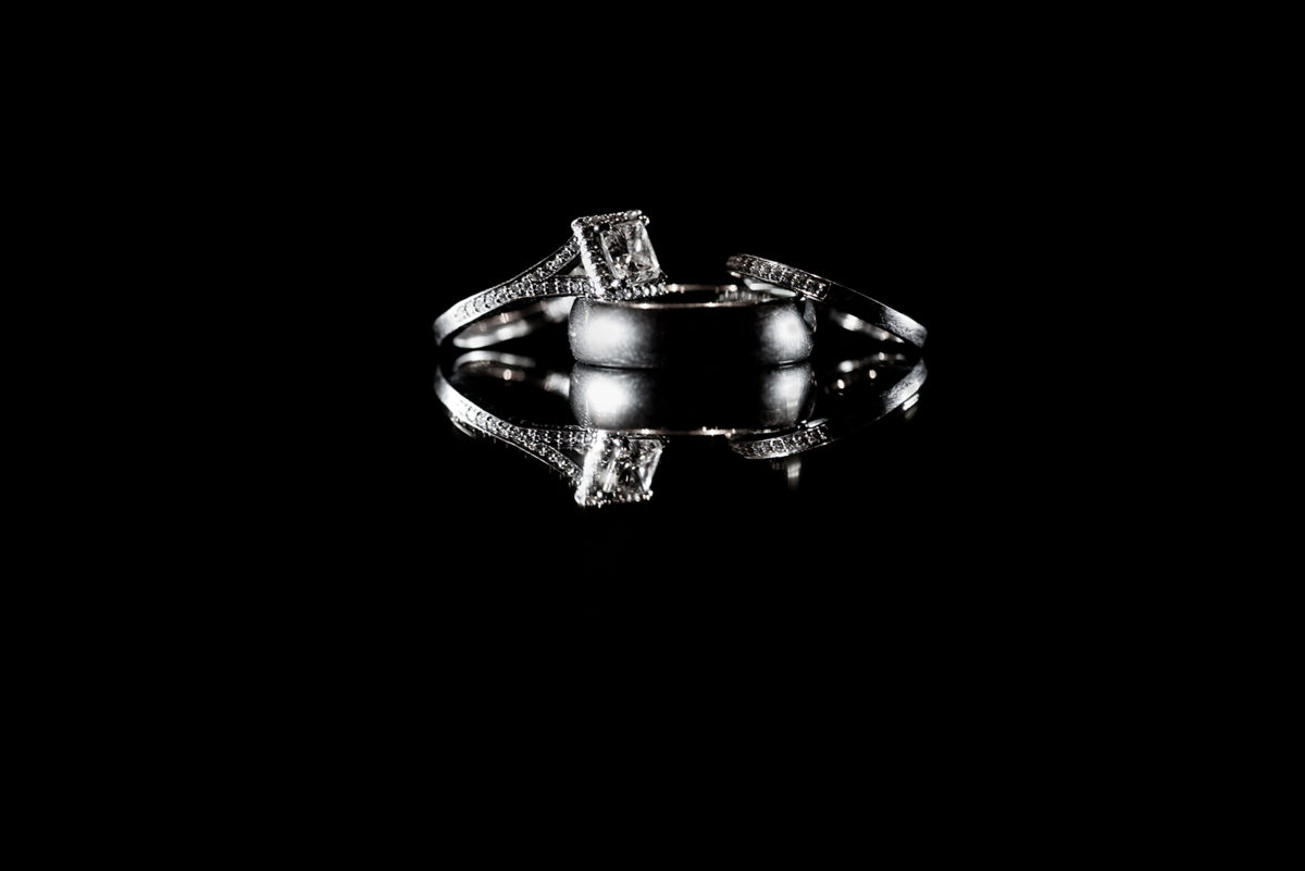 Black White Photo Wedding Rings Bands