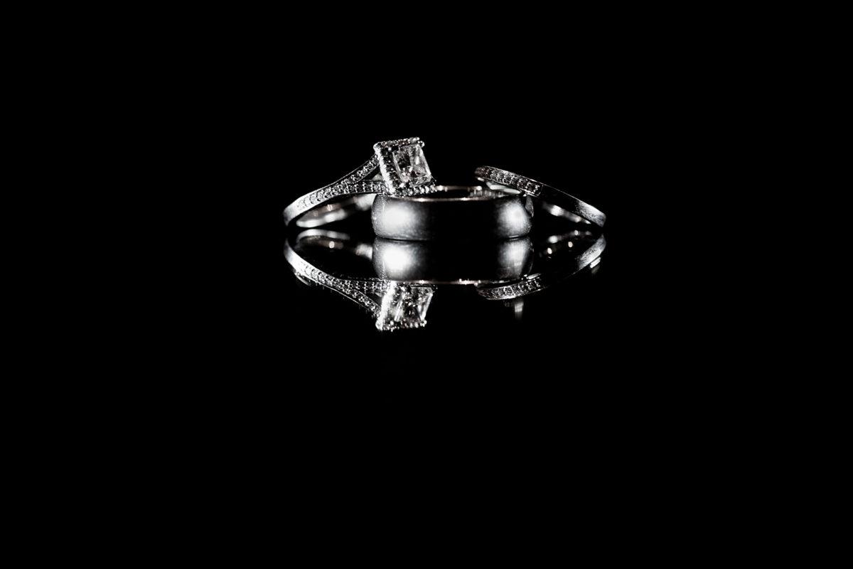 Black White Photo Wedding Rings Bands