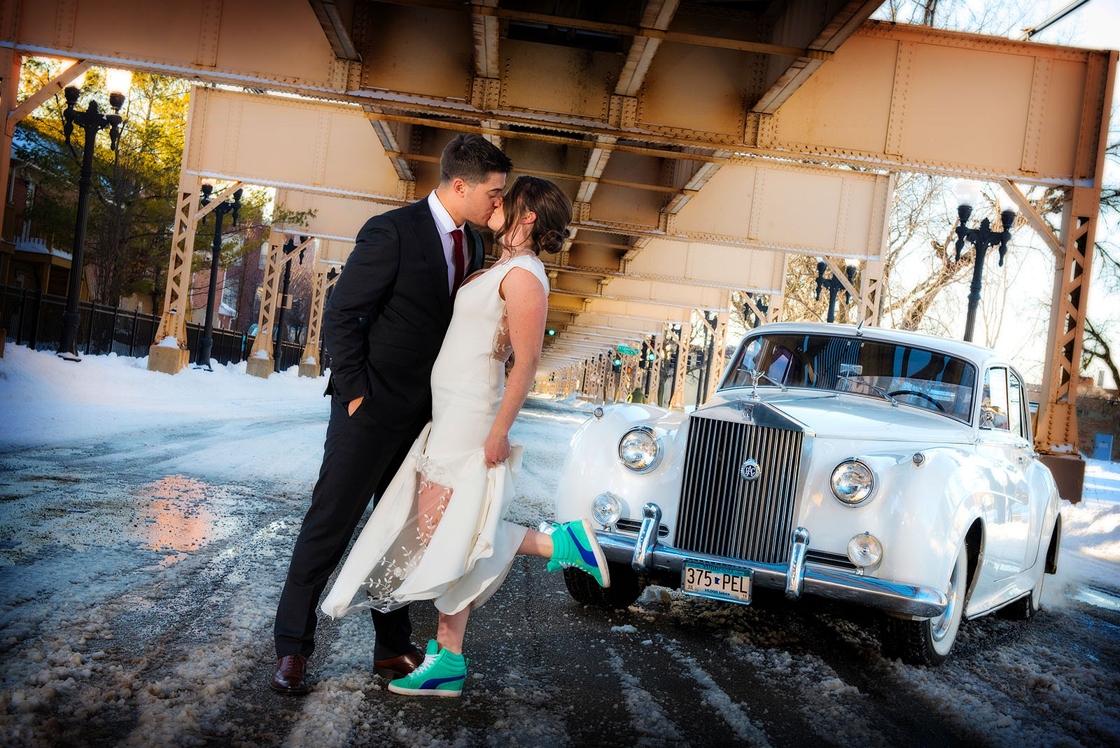 Bride Groom Winter Antique Car Winter Wedding Snow