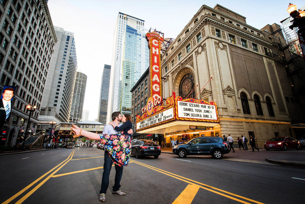 Engagement Session location in front of Chicago Theater