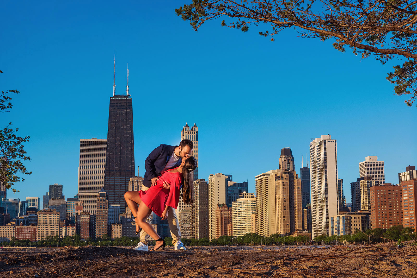 Chicago Engagement Session location at North Avenue Beach with skyline in background