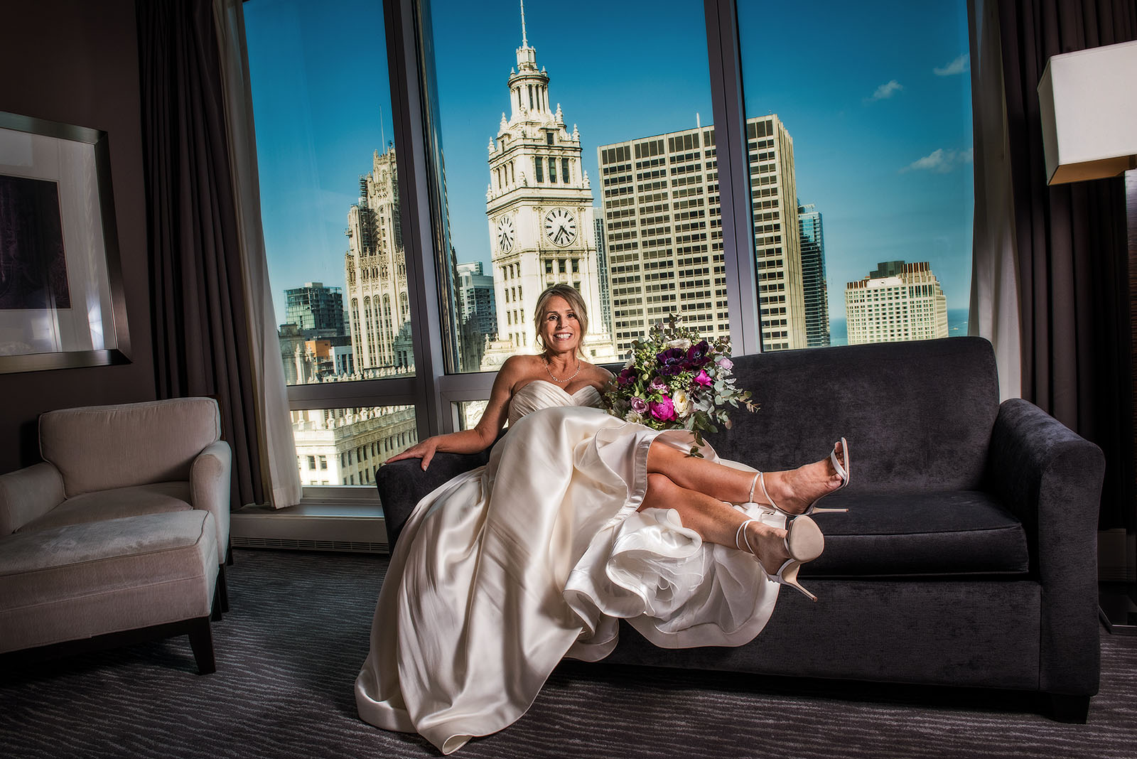 Bride in front of Chicago Skyline at Trump Hotel Chicago