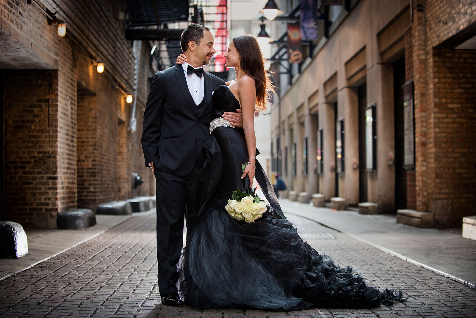 Bride Groom Wedding Photo Black Wedding Dress Chicago Theater
